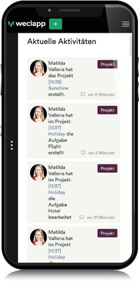 Mobil Ansicht Projektmanagement