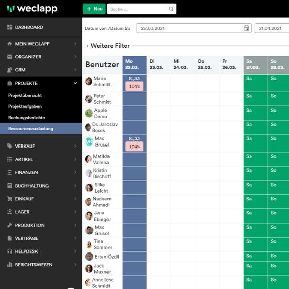 Projektmanagement mit weclapp