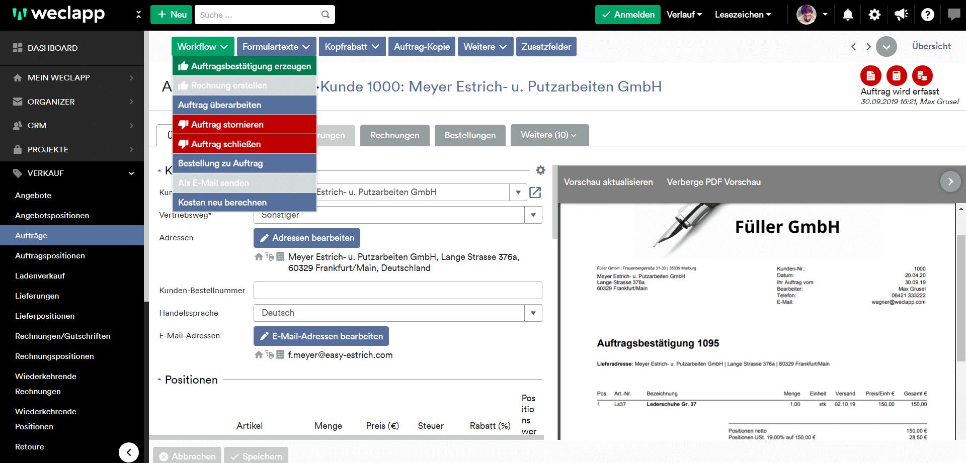 Auftragsworkflow mit weclapp
