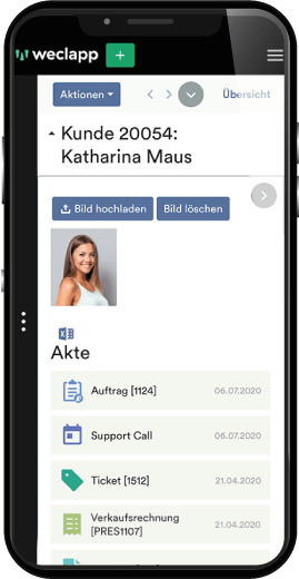 mobile Ansicht Kundenakte