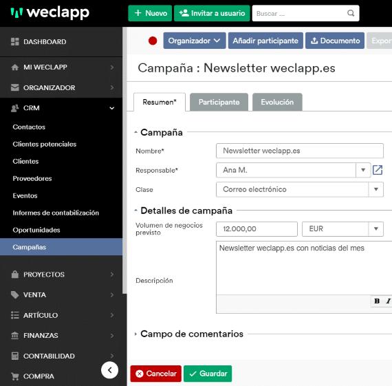 weclapp software campañas marketing es